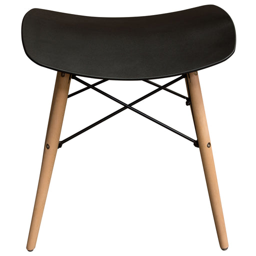 Archie 2-Pack Accent Stools in Black Formed Polypropylene with Beech Legs and Steel Tubing - Black