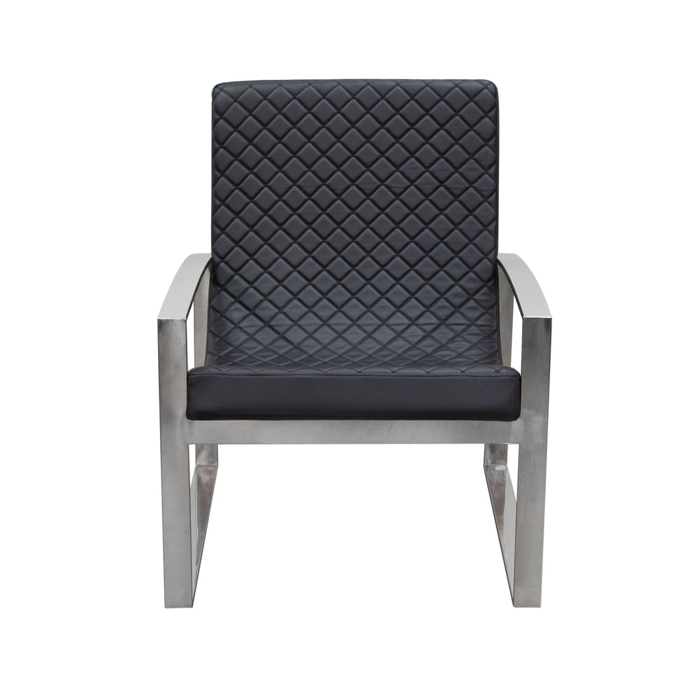Aristocrat Accent Chair with Diamond Tufted Quilt and Stainless Steel Frame - Black