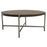 "Atwood 40"" Round Cocktail Table with Grey Oak Veneer Top and Brushed Silver Metal Base - Grey/Silver"