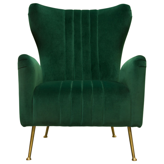 Ava Chair in Emerald Green Velvet with Gold Leg - Emerald Green