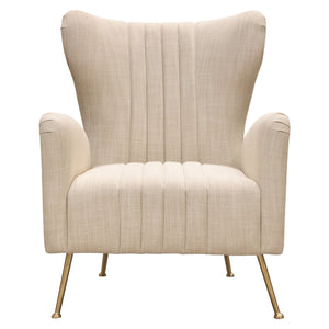 Ava Chair in Sand Linen Fabric with Gold Leg - Sand Linen
