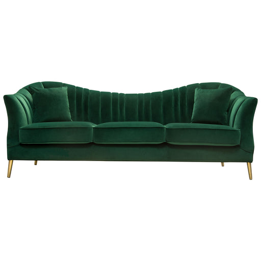 Ava Sofa in Emerald Green Velvet with Gold Leg - Emerald Green