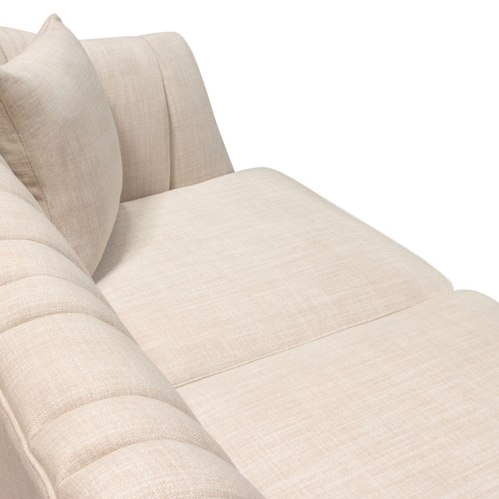 Ava Sofa in Sand Linen Fabric with Gold Leg - Sand Linen