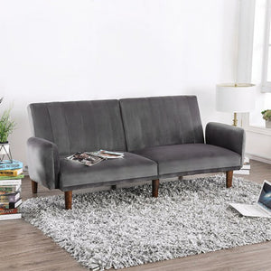 Adrianne Gray Solid Wood Glamour Arms Futon