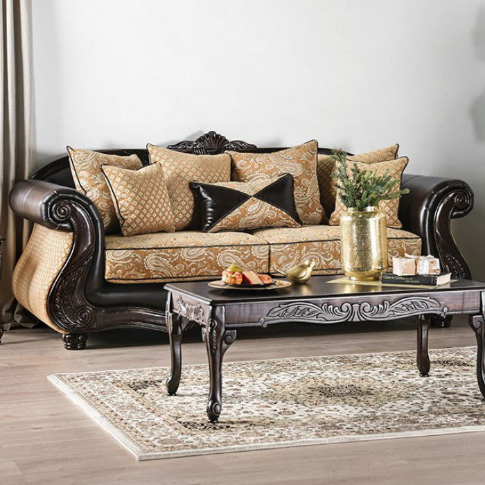 Aislynn Chenille Leatherette Gold/Espresso Solid Wood Traditional Sofa