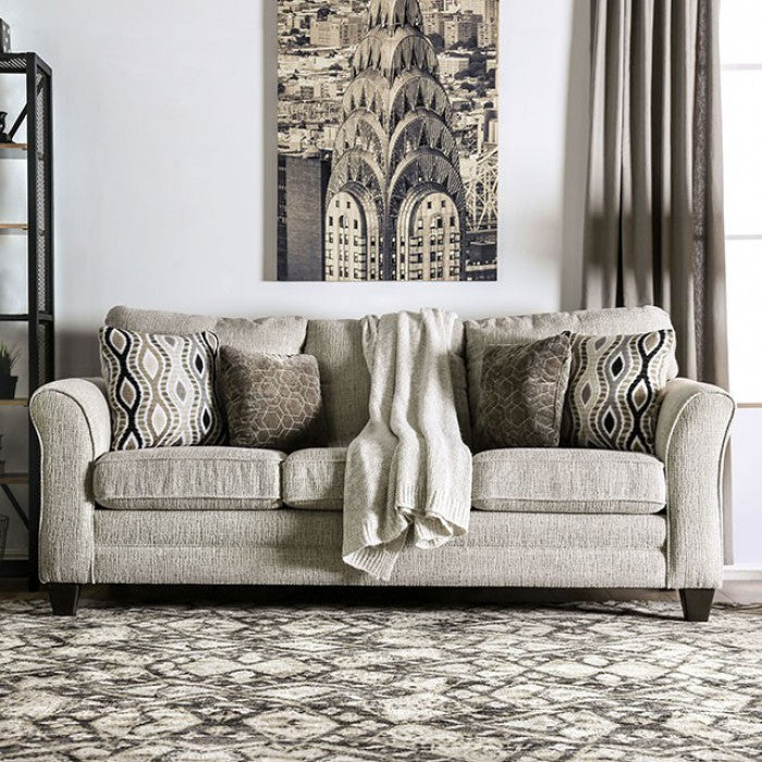Aleah Chenille Light Gray Wood Transitional Sofa