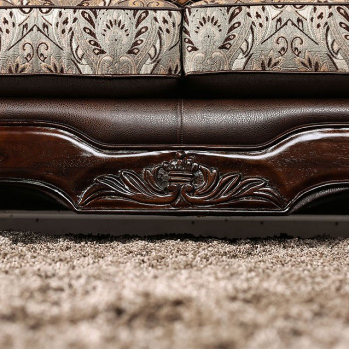 Alessio Chenille Brown Traditional Sofa