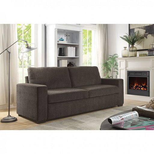 Alex Chenille Brown Solid Wood Contemporary Sofa