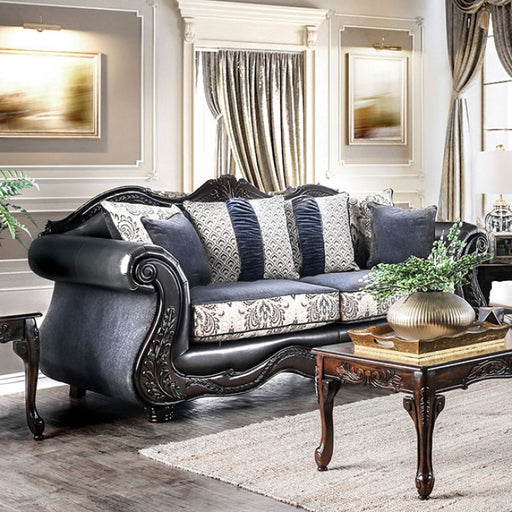 Amadeo Chenille/Leatherette Dark Navy Traditional Sofa