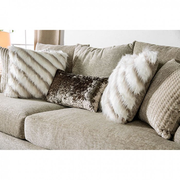 Anthea Solid Wood Frame Beige Transitional Sofa