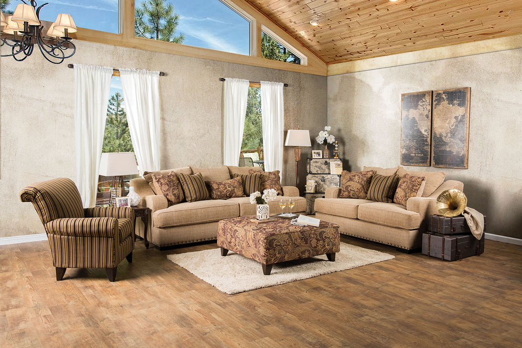 Arklow Fabric Tan Contemporary Sofa