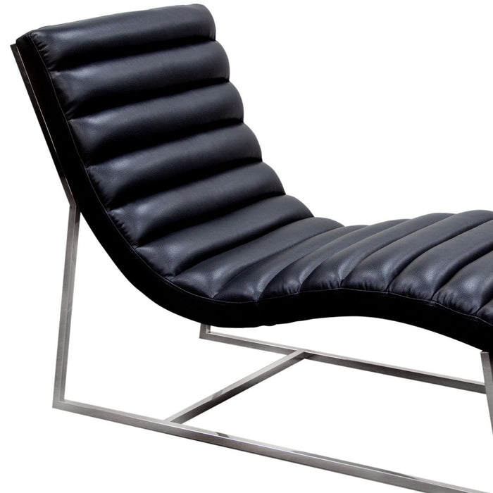 Bardot Chaise Lounge with Stainless Steel Frame - Black
