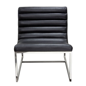 Bardot Lounge Chair with Stainless Steel Frame - Black