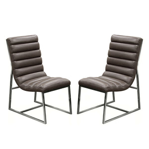 Bardot 2-Pack Dining Chair with Stainless Steel Frame - Elephant Grey