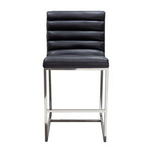 Bardot Counter Height Chair with Stainless Steel Frame - Black