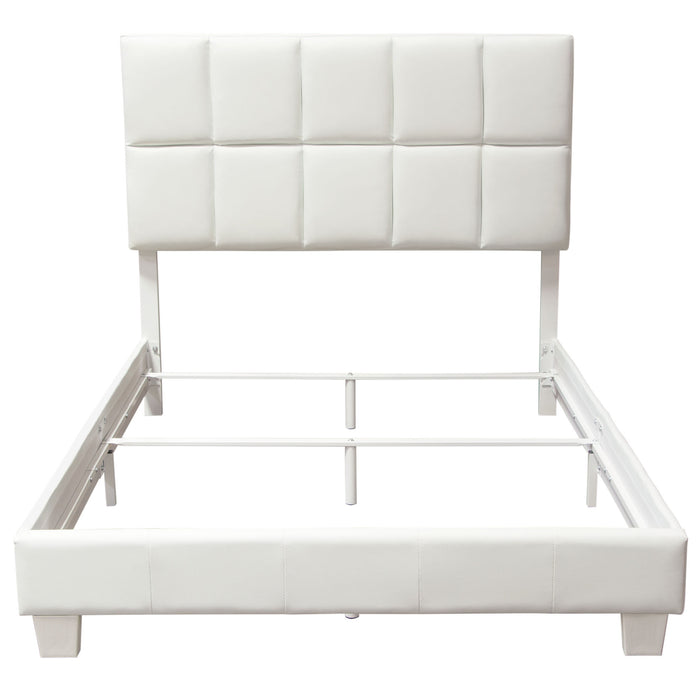 Biscuit White Leatherette Queen Bed Complete Bed in a Box - White