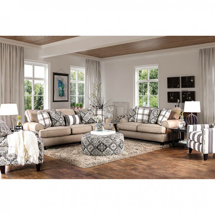 Bernadette Solid Wood Frame Beige Transitional Sofa
