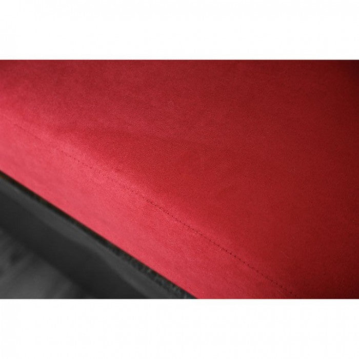 Braelyn Leatherette Black/Red Contemporary Sofa