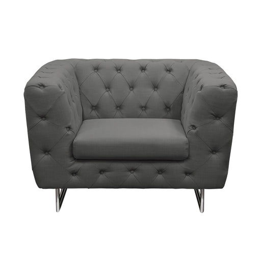 Catalina Tufted Chair with Metal Leg in Grey Fabric - Grey