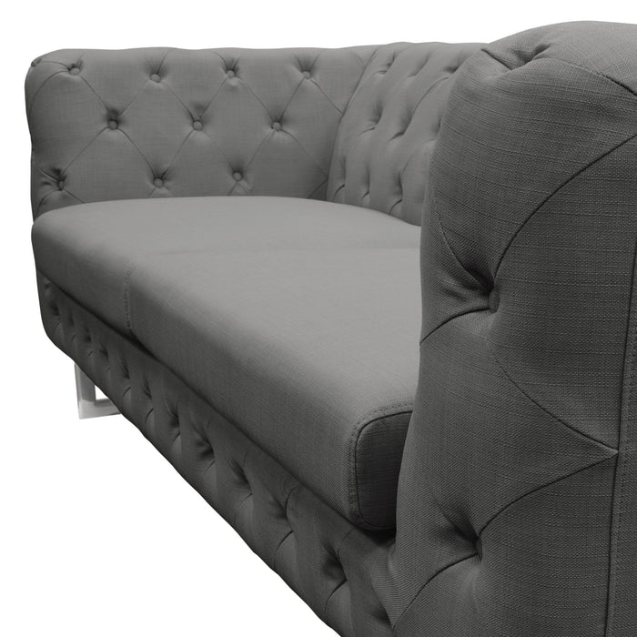 Catalina Tufted Sofa with Metal Leg in Grey Fabric - Grey