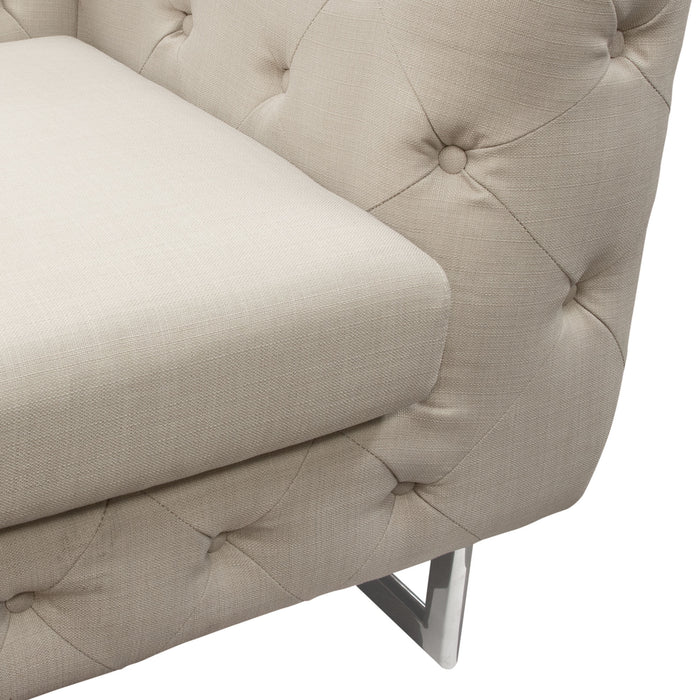 Catalina Tufted Sofa with Metal Leg in Sand Fabric - Sand