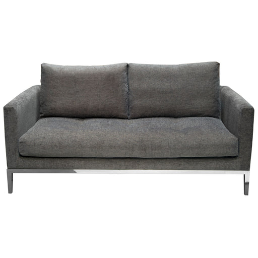 Chateau Loose Pillow Back Loveseat in Azure Grey Fabric and Polished Leg - Grey