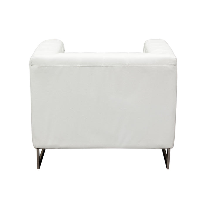 Chelsea Leatherette Chair with Metal Leg - White