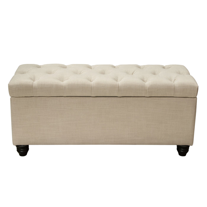 Chesterfield Tufted Lift-Top Storage Trunk - Sand