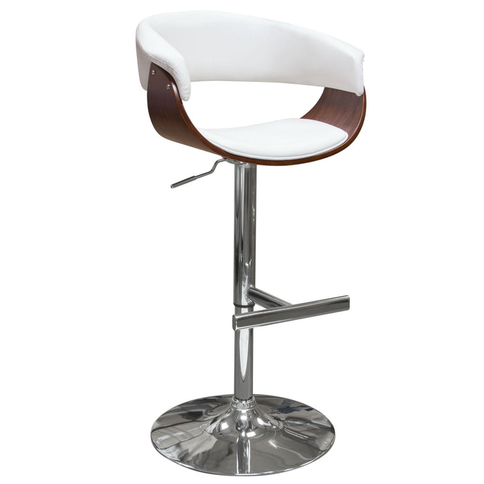 Cove Hydraulic Adjustable Height Stool in White PU with Molded Bamboo Seat - White