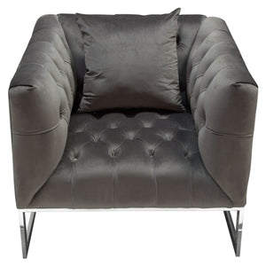 Crawford Tufted Chair in Dusk Grey Velvet with Polished Metal Leg and Trim - Dusk Grey