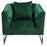 Crawford Tufted Chair in Emerald Green Velvet with Polished Metal Leg and Trim - Emerald Green