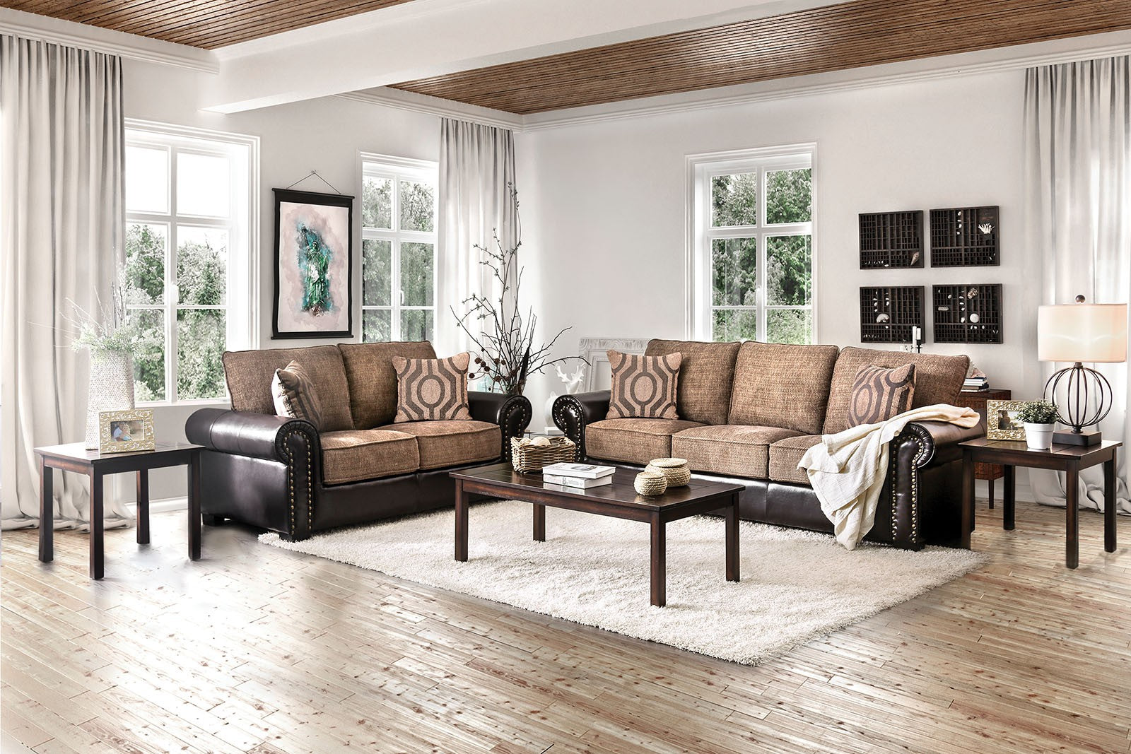 Ceuta Chenille/Leatherette Brown/Espresso Transitional Sofa