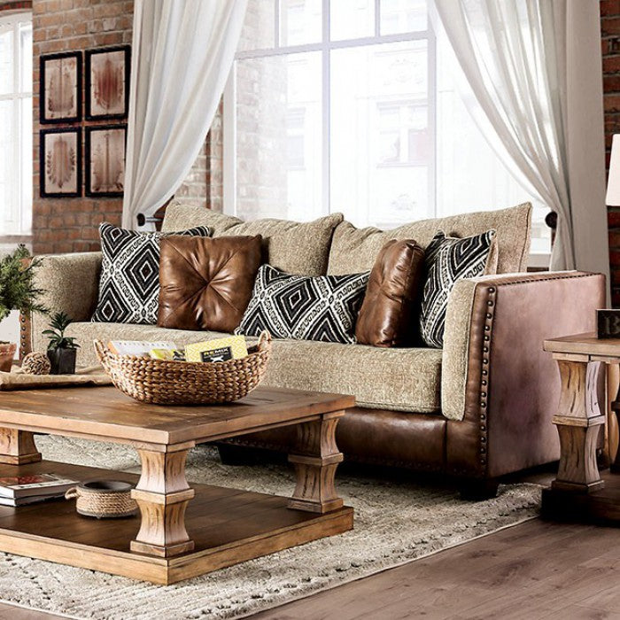 Chaparral Beige/Brown Solid Wood Chenille Leatherette Transitional Sofa