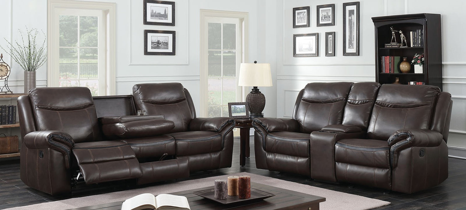 Chenai Leather Gel Brown Transitional Sofa