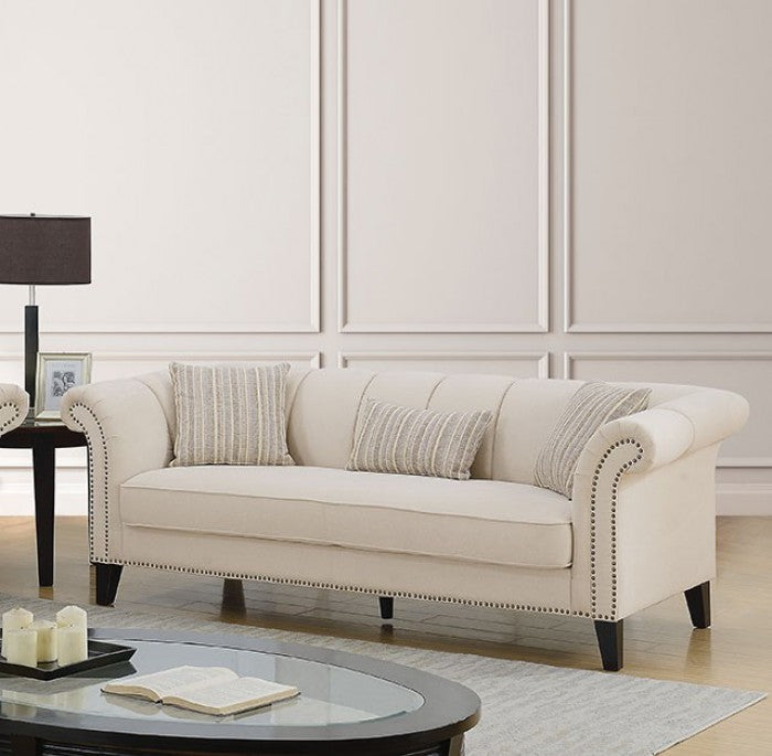 Clarabelle Linen Beige Solid Wood Transitional Sofa