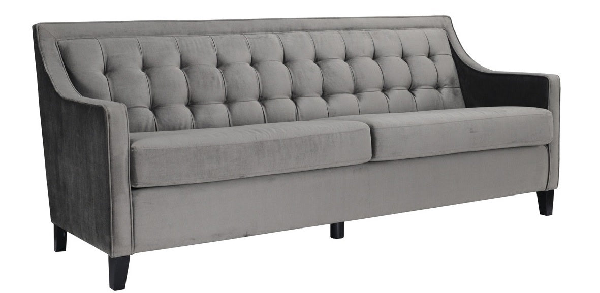 classic home tufted gray polyester sofa birch wood legs transitional modern designer