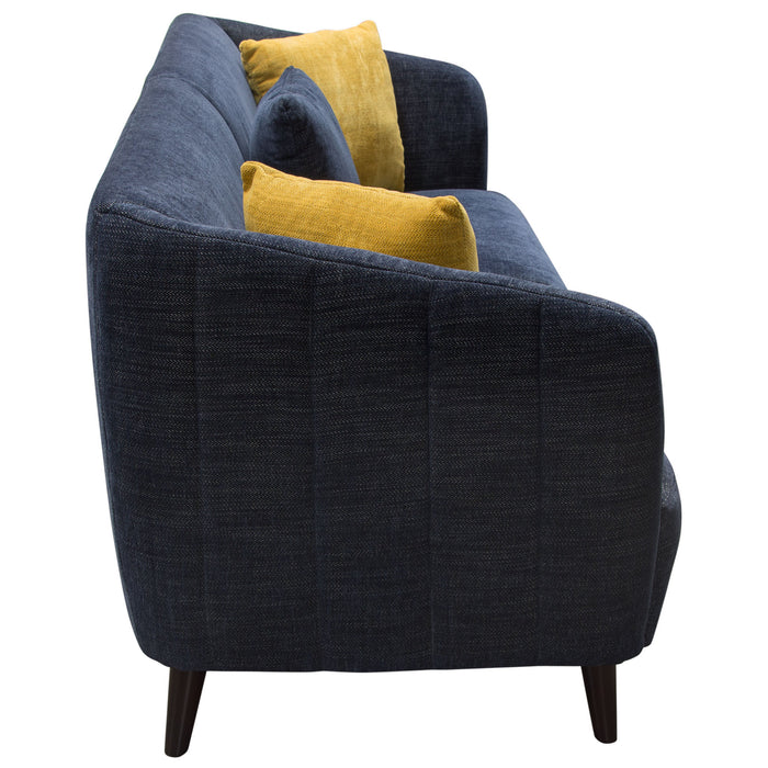 DeLuca Midnight Blue Fabric Sofa - Navy