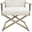 Diva Directors Chair in White Faux Fir with Gold Metal Frame - White