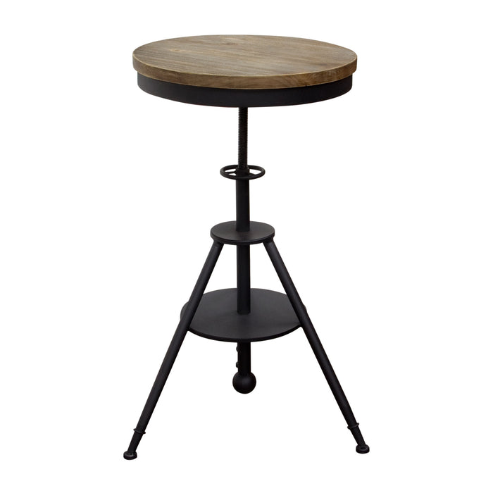Douglas Vintage Adjustable Height Bistro Table with Weathered Grey Top and Powder Coat Iron Base - Black