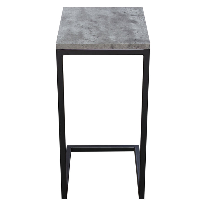 Sleek Metal Frame Accent Table with Faux Concrete Top and Black Powder Coated Metal Frame - Faux Concrete