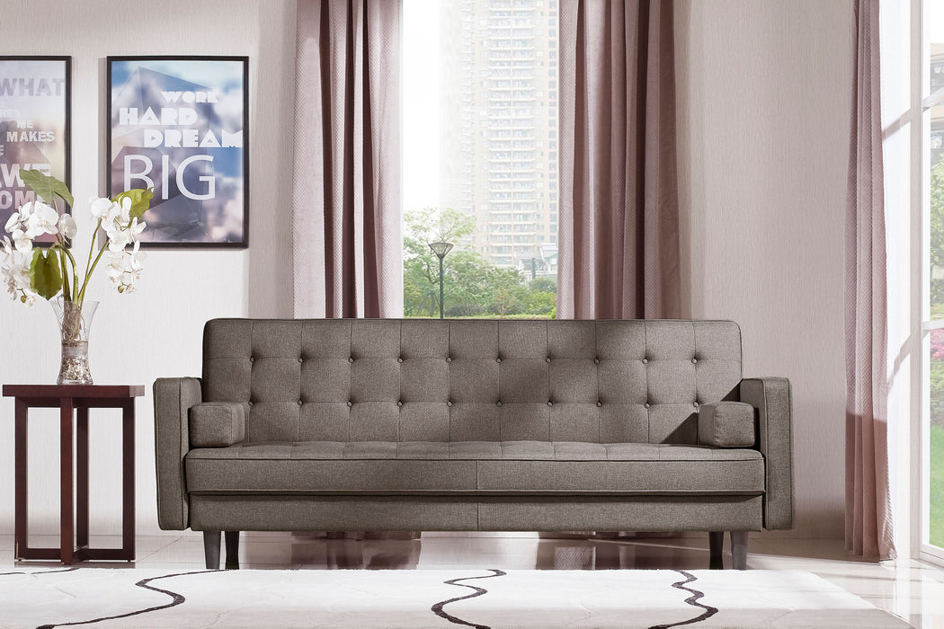 Express Convertible Tufted Sofa with Wood Leg - Grey
