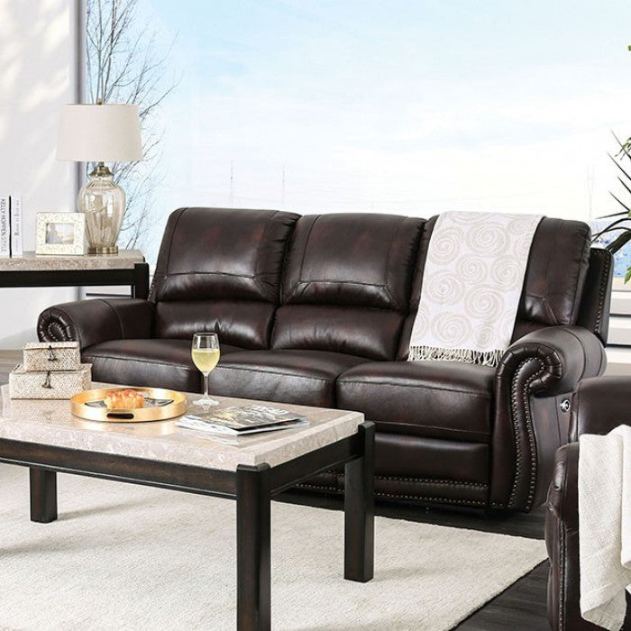 Edmore Leather Brown Solid Wood Traditional Sofa