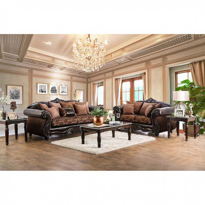 Elpis Chenille Brown/Espresso Traditional Sofa