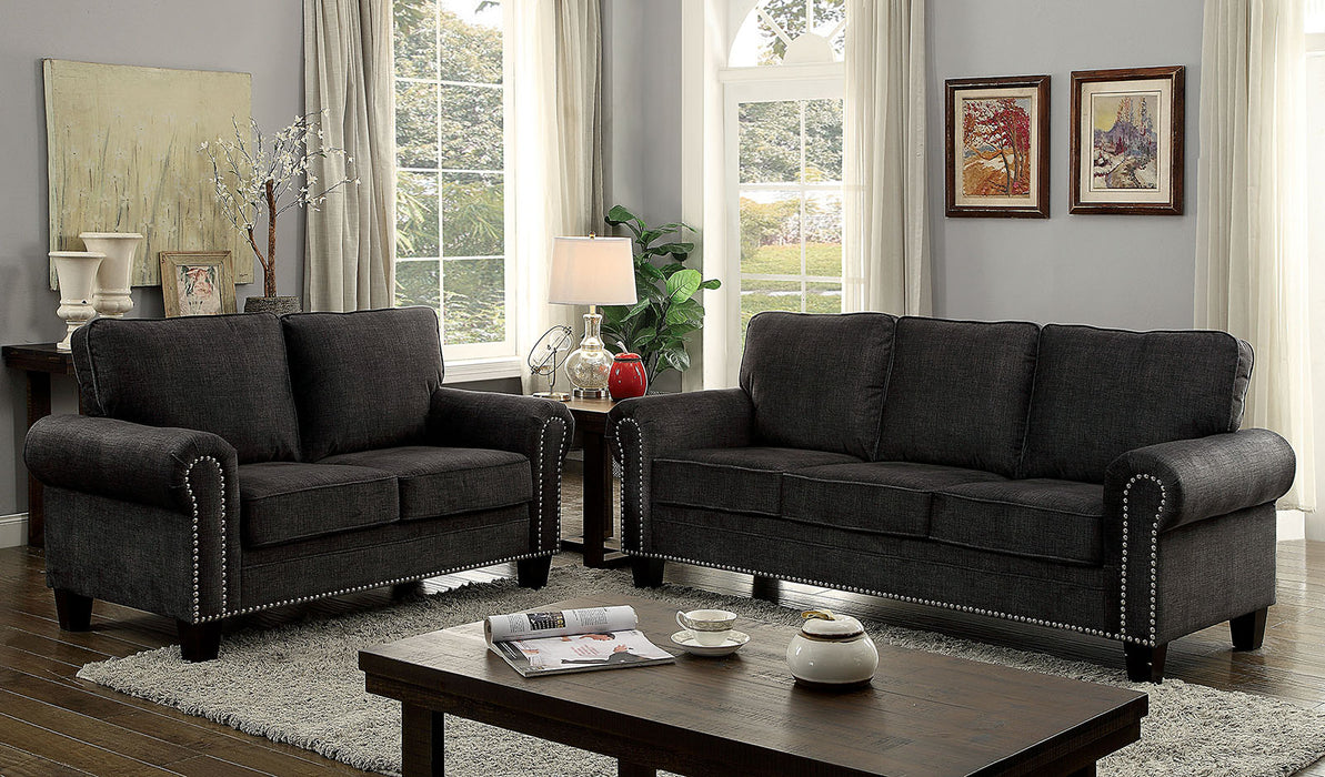 Elwick Fabric Dark Gray Transitional Sofa