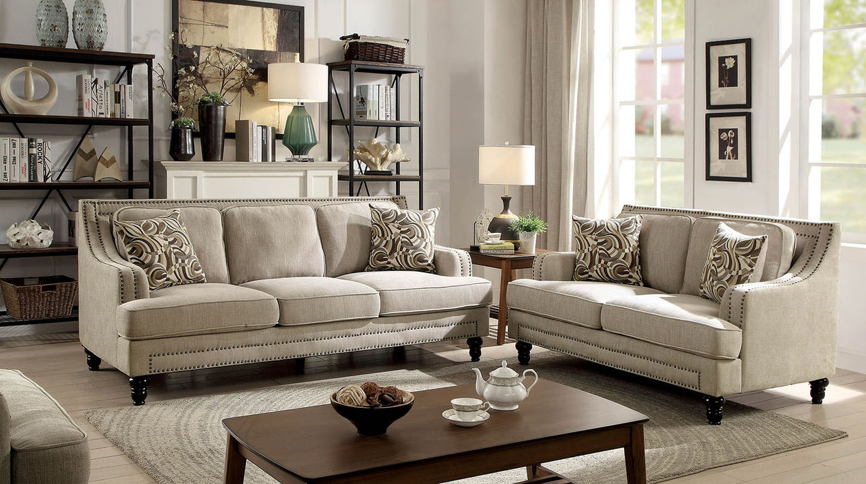 Everly Solid Wood Frame Beige Transitional Sofa