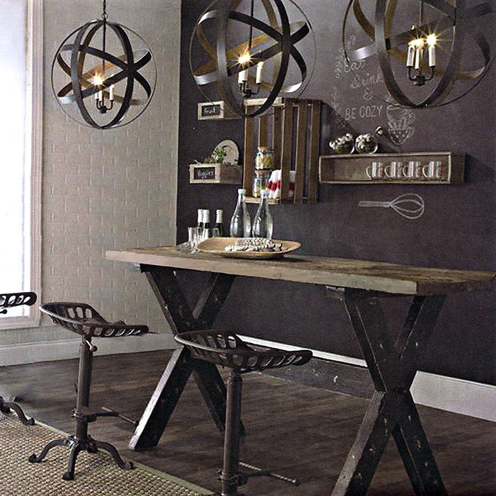Franklin Vintage Rectangular Dining Table with Weathered Grey Top and Black Powder Coated Base - Weathered Grey