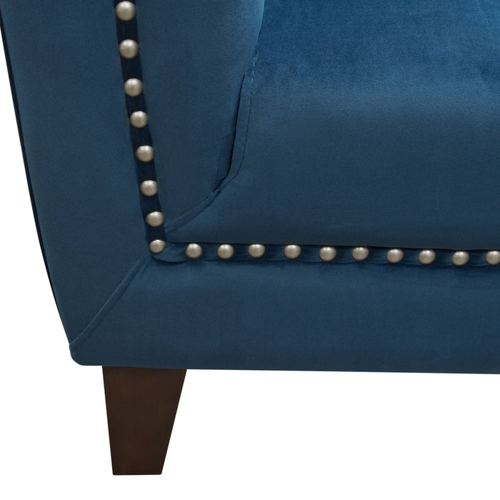 Grand Tufted Back Chair with Nail Head Accent in Blue Velvet - Blue