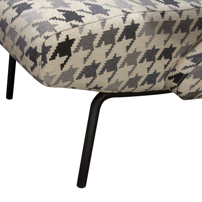 Harper Accent Chair in Hounds Tooth Pattern Fabric with Black Powder Coated Leg - Black/White/Grey
