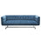 Hollywood Tufted Sofa in Royal Blue Velvet with Metal Leg - Blue