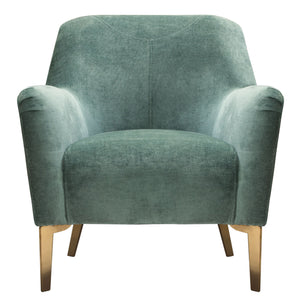 Jade Chair in Bay Green Fabric with Gold Leg and Trim - Bay Green